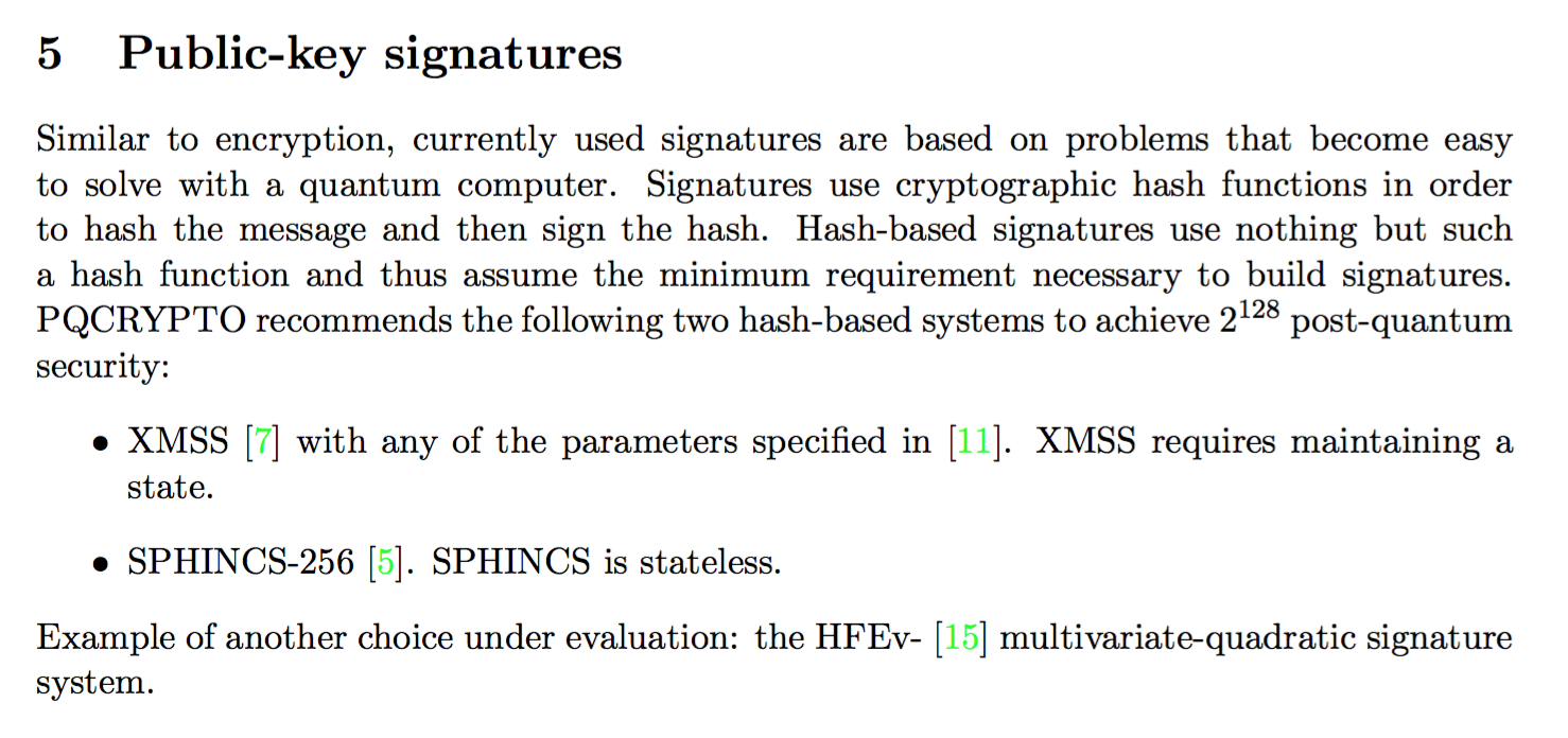 pqcrypto hashed based signatures